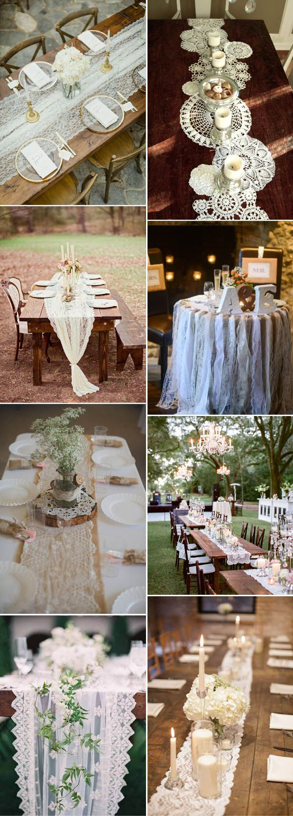 lace rustic and vintage wedding table settings