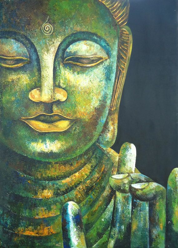 """When we let go of our battles and open our hearts  to things as they are, then  we come to rest in the present moment.  This is the beginning and the end of spiritual practice.""     ~ Jack Kornfield  Buddha in Karana Mudra Original Acrylic Painting by SLArtShop"