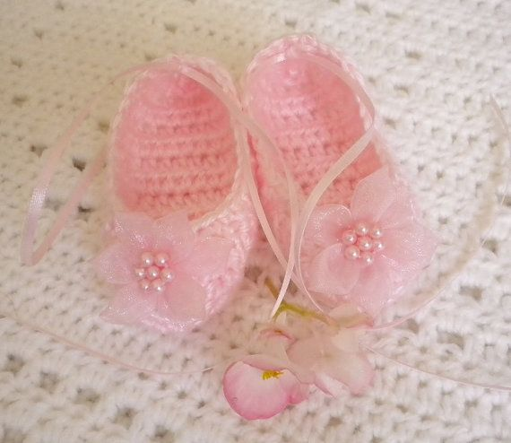 Crocheted Ballet Slippers Baby Girl 36 mo Pink w by MagdaleneKnits, $22.00