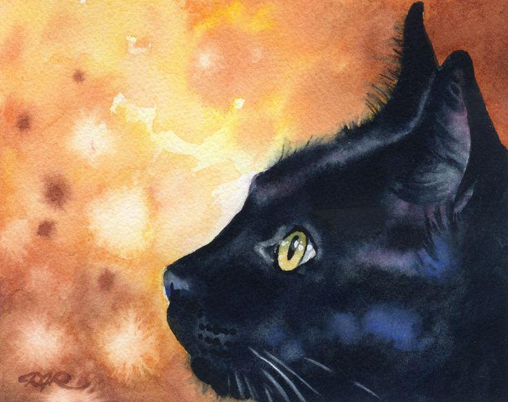 BLACK CAT Art Print ondertekend door aquarel kunstenaar DJ Rogers door k9artgallery op Etsy https://www.etsy.com/nl/listing/120427024/black-cat-art-print-ondertekend-door