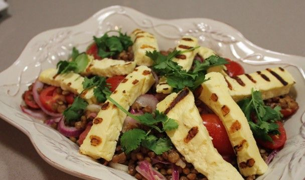 Warm Lentil, Cherry Tomato and Haloumi Salad