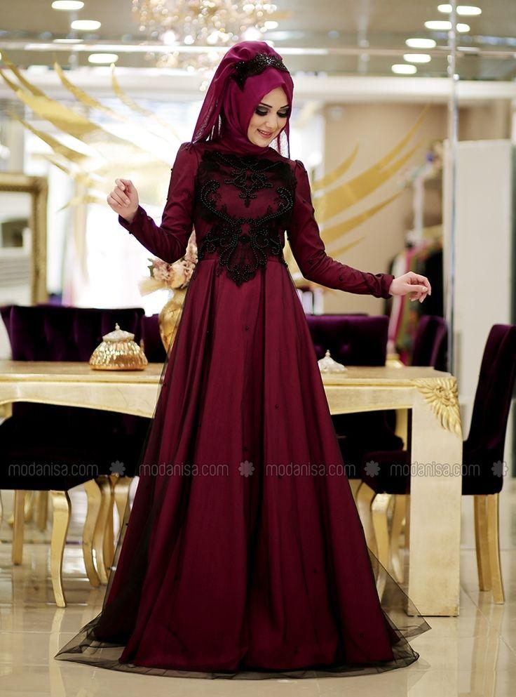 Enameled Evening - Pink - Muslim Evening Dresses - Modanisa