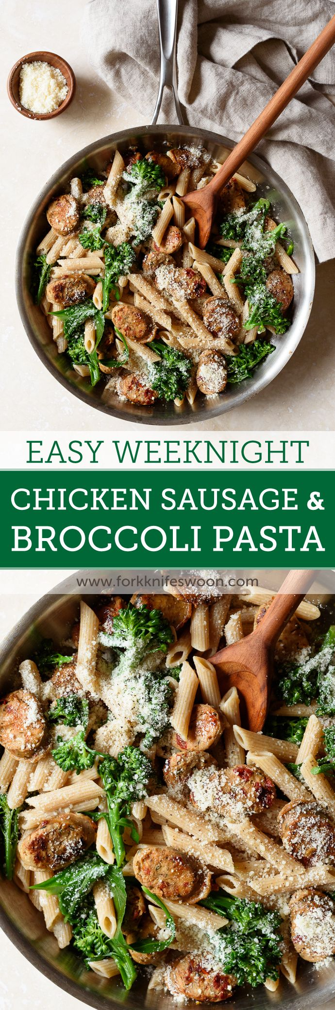 Whole Wheat Pasta with Broccoli and Chicken Sausage | via forkknifeswoon.com