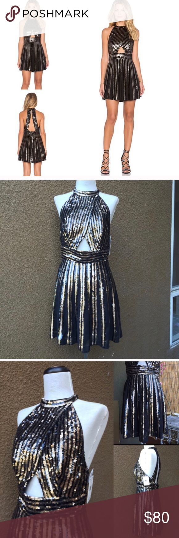 Free People Black Striped Sequin Mini Dress Reposh after wearing once for New Years! Does not have tags anymore! Purchased for $105! Size 6! Let me know if you have any questions! Black and gold Free People Sequin dress retails for $350! Free People Dresses Mini
