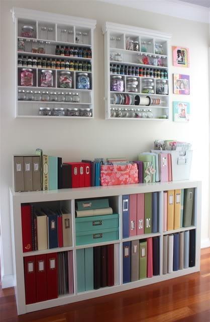 White shelves for craft space, jam jar storage
