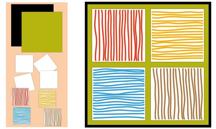 Décoration Graphisme Petite Section Les traits horizontaux et verticaux : Tableau patchwork à partir des lignes horizontales et verticales.