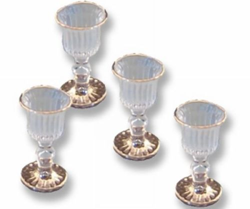 DOLLHOUSE-Victorian-Wine-Glasses-14638-Reutter-empty-gold-rim-goblets-Miniature