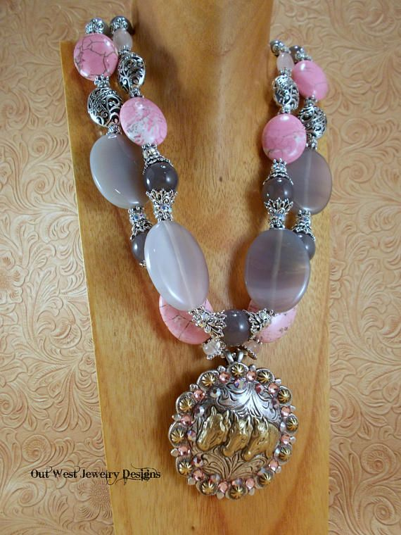 Cowgirl Necklace Set Chunky Gray Agate Pink Howlite