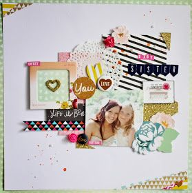 Baby Sister scrapbook layout. Patterns. Gold.