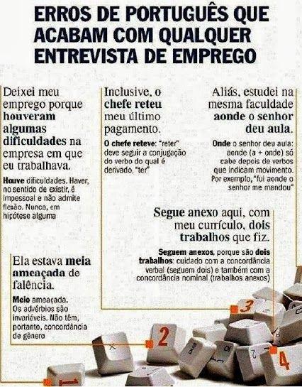 Erros de português que acabam com qualquer entrevista de emprego. #erros #portugues