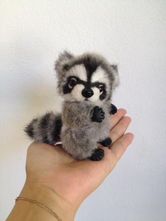 Raccoon mini. Jointed teddy bear. Handmade bear. by TeddyRusaLena