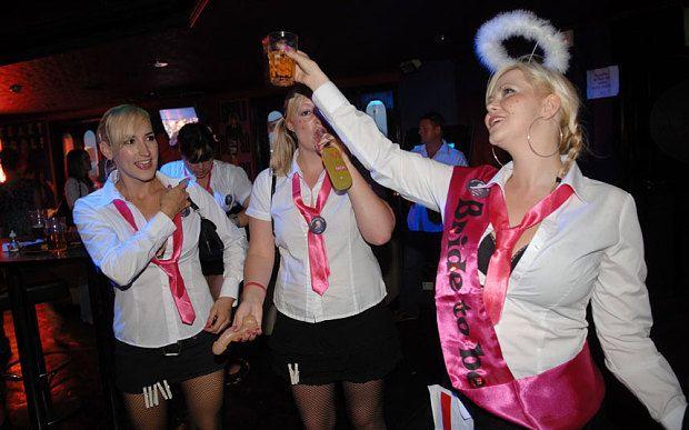 Girls on a hen night in Blackpool,