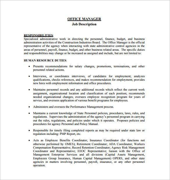 project management roles and responsibilities template *jobs - management job description