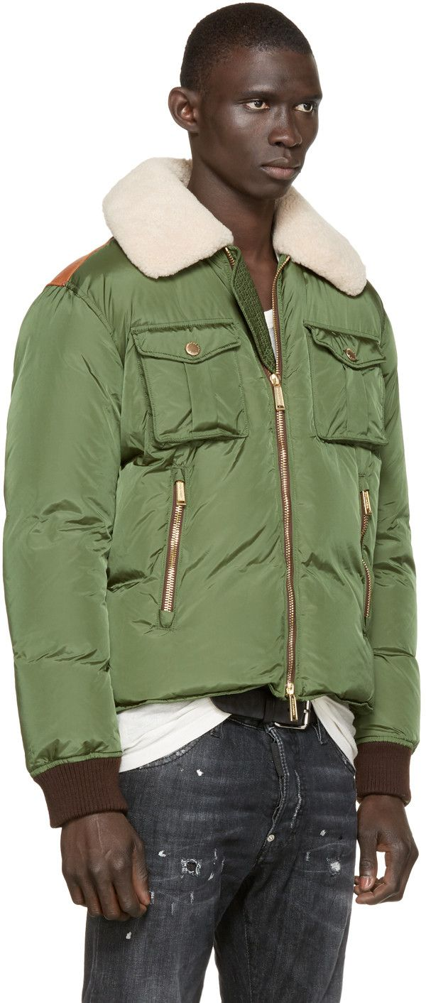 Dsquared2 Green Down Russian Collar Bomber