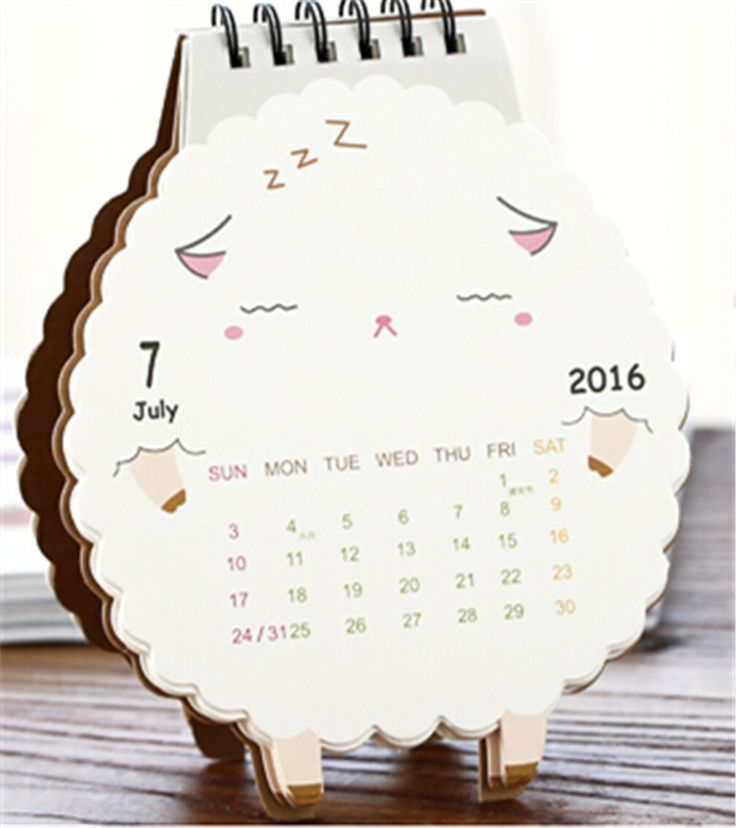 DIY Cute Cartoon Sheep Design Standing Desk Calendars Paper Printing Calendar 2016 Planner Agenda Office School Supplies