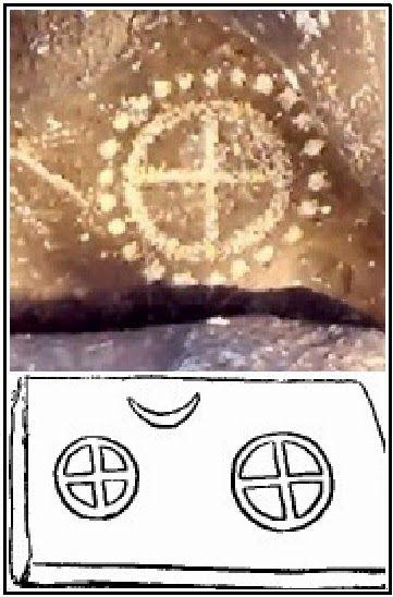 Solarni krst kao indijanski petroglif (Tularosa Valley, New Mexico, USA) i solarni krstovi na stećku (Kokorina, Gacko).