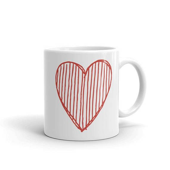 Good BIG RED HEART Doodle Love Theme Bright Flashy Design Ceramic Coffee Mug