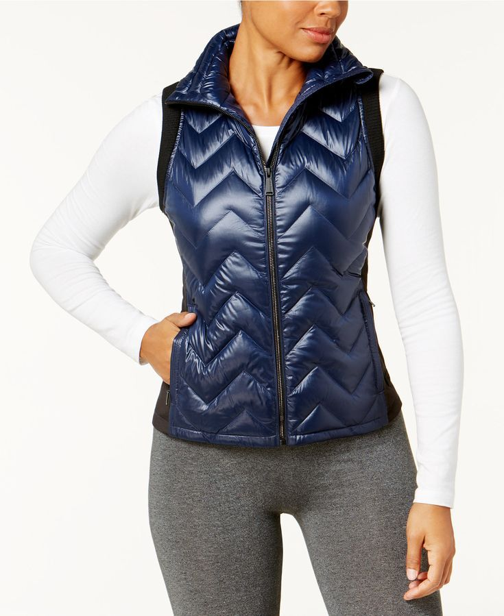 Calvin Klein Performance Chevron Quilted Down Vest In Metallic Night Elevate Your Look And Enhan With Images Blazer Jackets For Women Stylish Vests Quilted Vest