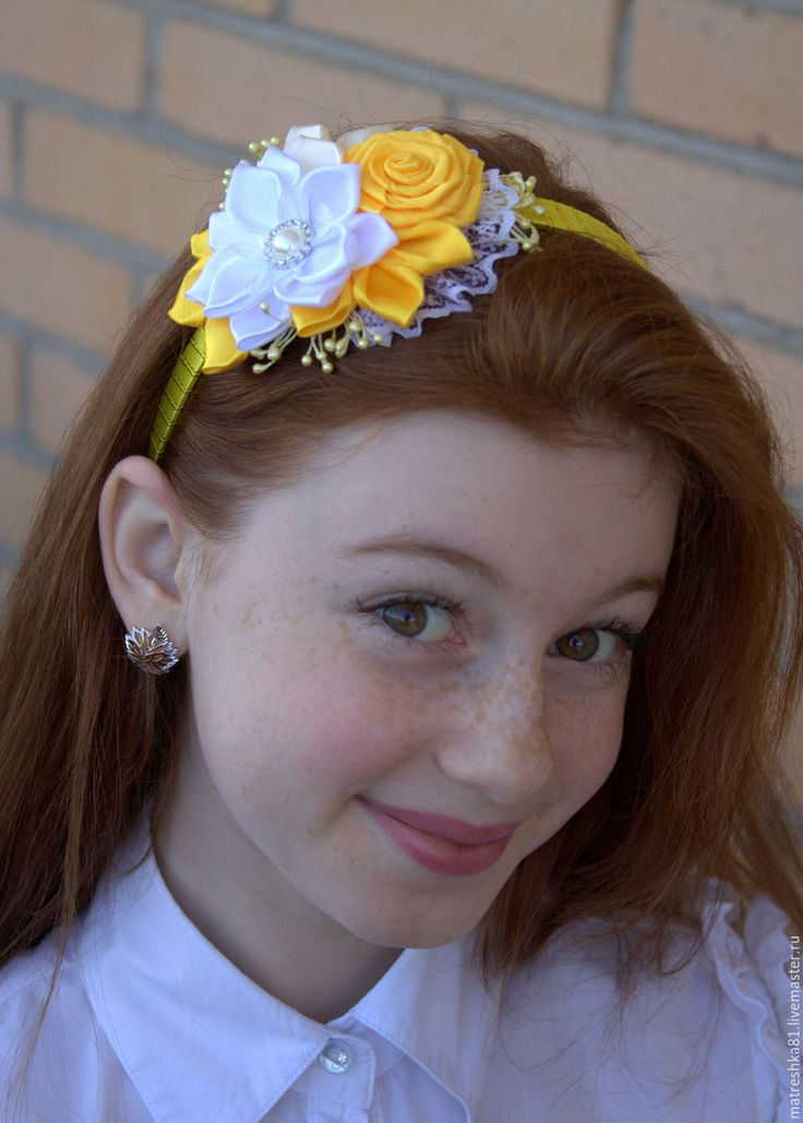 Headband with kanzashi flowers, rosettes, and lace