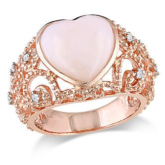 Amour 1/10 Carat T.W. Diamond and 4 1/4 Carat T.G.W. Pink Opal Fashion Ring Pink Sterling Silver GH I3