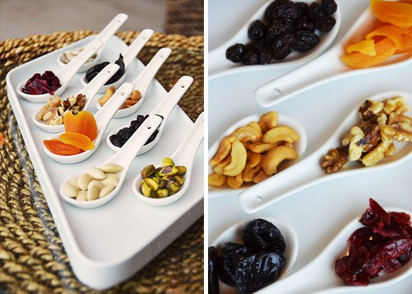 Dried fruits on little spoons. One of Hotel Westin Playa Bonita's healthy amenities.