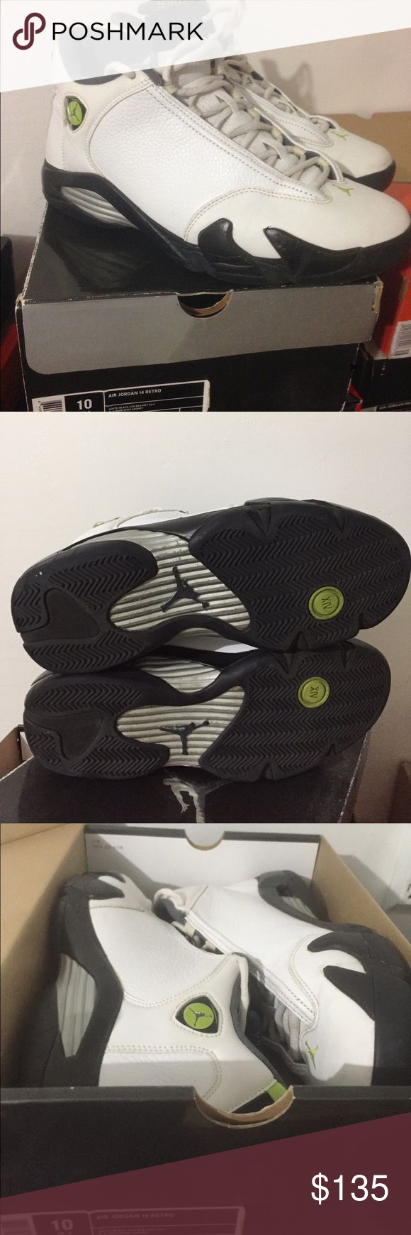 Nike Air Jordan XIV size 10 1000% authentic Jordan XIV shoes white chartreuse size 10 Nike Shoes Athletic Shoes