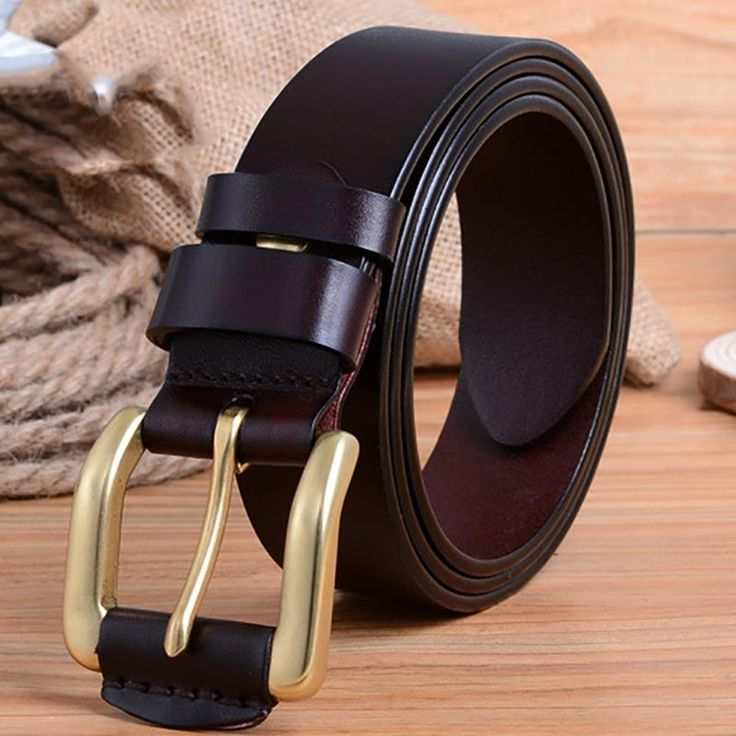 New Designer Luxury Brand Belts for Mens Genuine Leather Male Casual Jeans Vintage Fashion Solid Brass Pin Buckle Waist Strap
