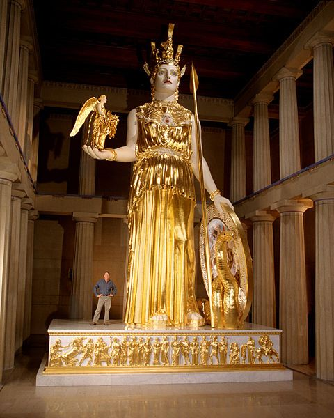 This is a replica of the lost statue of Athena, that was once housed in the Parthenon. Temples were built as a home to the statue representations of the specific god that the Greeks were worshipping.