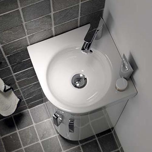 Keramag Renova Nr.1 Comprimo corner hand washbasin white with KeraTect