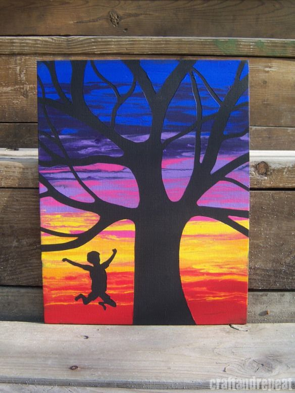Wet Canvas Silhouettes   A water and acrylic painting technique. 64 best PROJECTS  Silhouette Paintings images on Pinterest