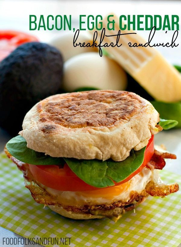 Bacon, Egg & Cheese Loaded Breakfast Sandwich Recipe: a quick and easy breakfast recipe that's way better than any McMuffin! This recipe also has a freezer option!