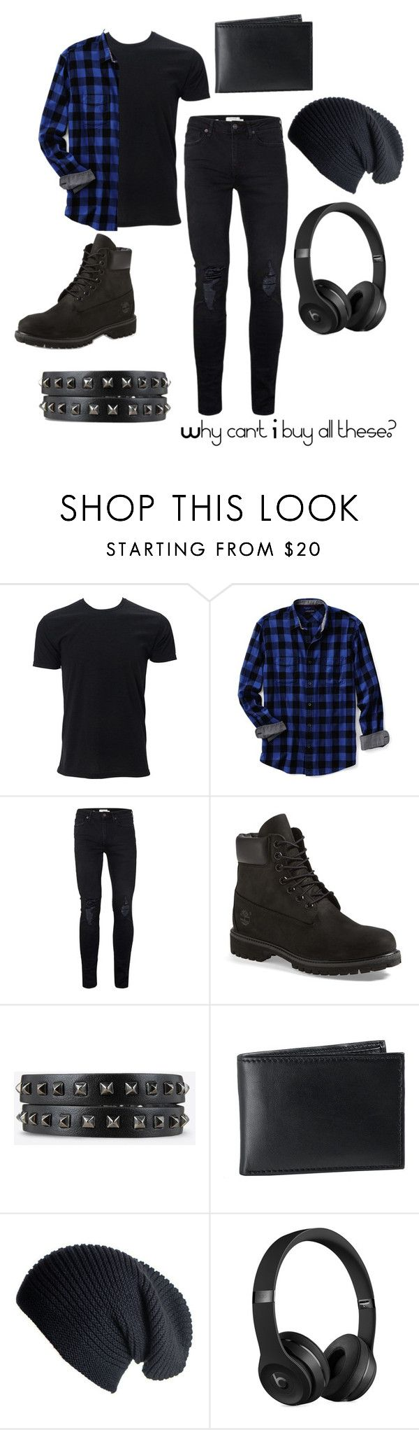 """The Jealousy Outfit"" by robbietheraccoon ❤ liked on Polyvore featuring Lands' End, Topman, Timberland, BLACK BROWN 1826, Black, Beats by Dr. Dre, men's fashion and menswear"