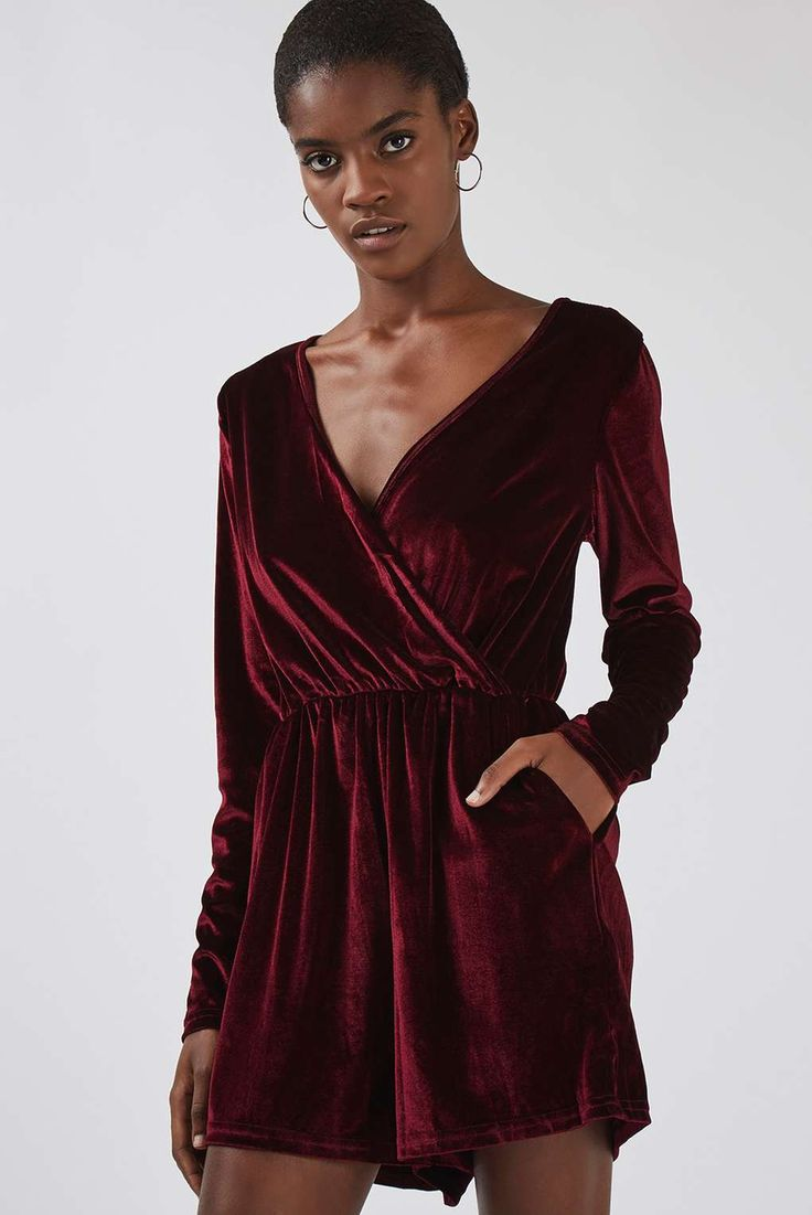 **Velvet Wrap Front Playsuit by Glamorous Tall - Playsuits and Jumpsuits - Clothing - Topshop Europe