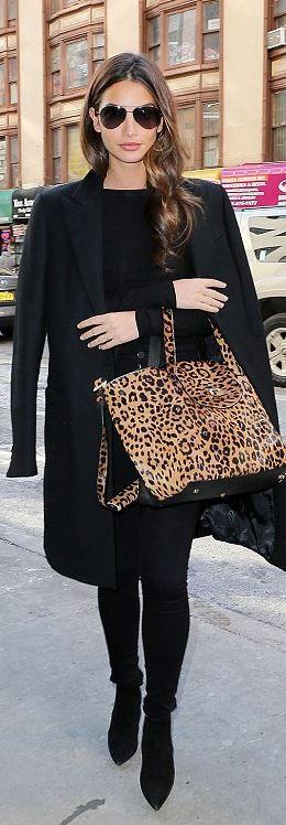 Who made Lily Aldrige's leopard handbag and suede handbag? (OutfitID)