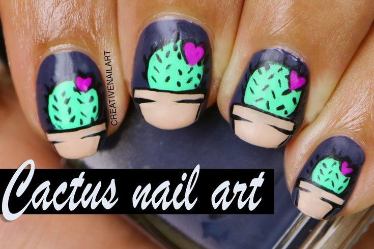 Tierno diseño de Cactus para decorar tus uñas - http://xn--decorandouas-jhb.net/diseno-de-unas-con-cactus/
