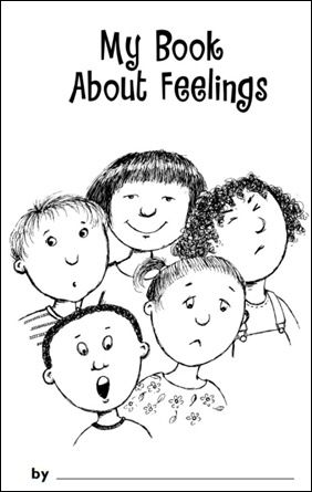 "My Book About Feelings printable. Maybe make one book for everyone to ""use"" since they're too young to color well and write..."