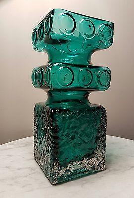 Teal Scandinavian Mid Century Riihimaen Tamara Aladin Kehra 1496 Art Glass Vase