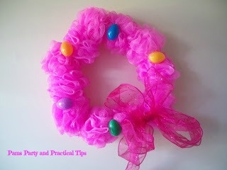 Easter wreath made from shower puffs