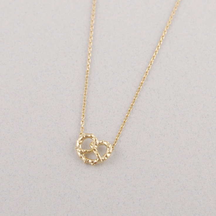 Tiny Pretzel Necklace in Gold. $14.00, via Etsy.