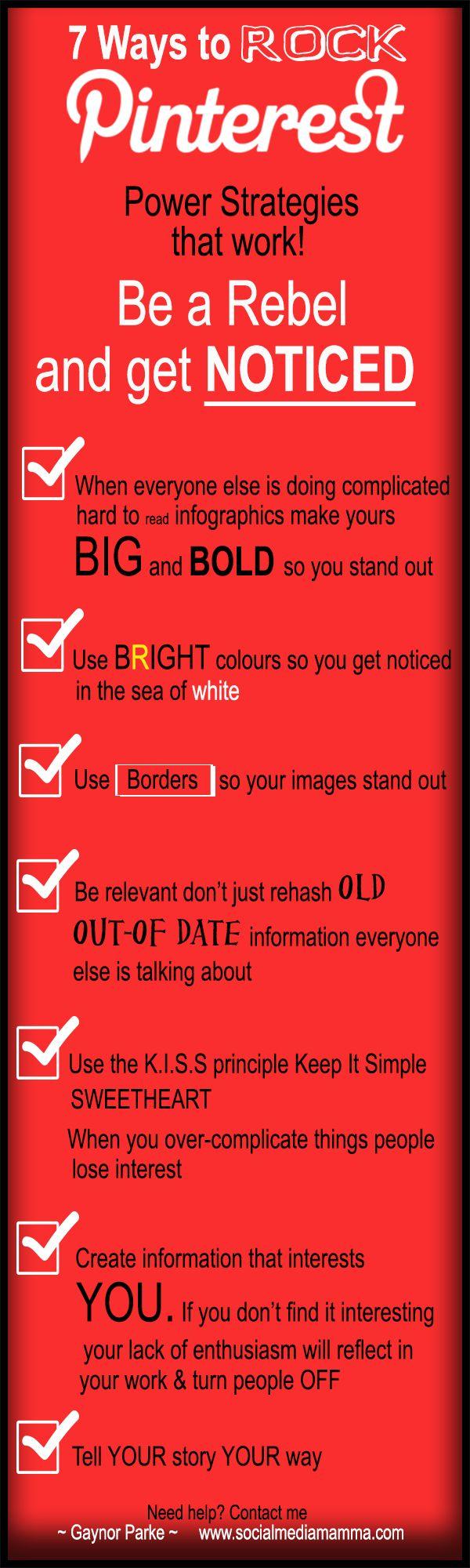 7 Pinterest for business power strategies that get you noticed Gaynor Parke wwww.socialmediamamma.com Infographic