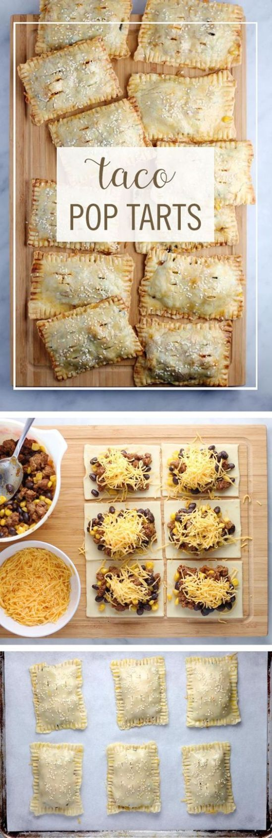 "Taco Pop Tarts Recipe via Babble ""These Taco Pop Tarts are a perfect way to turn your favorite breakfast pastry into dinner. Take your typical taco ingredients and turn them into this delicious on-the-go dinner."" - The BEST 30 Minute Meals Recipes - Easy, Quick and Delicious Family Friendly Lunch and Dinner Ideas"