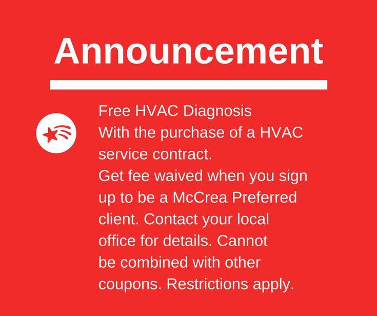 McCrea Announcement! Want a free #hvac diagnosis? Choose a service contract. #Mccreaway #McCreaFamily #McCrea #service #Announcement