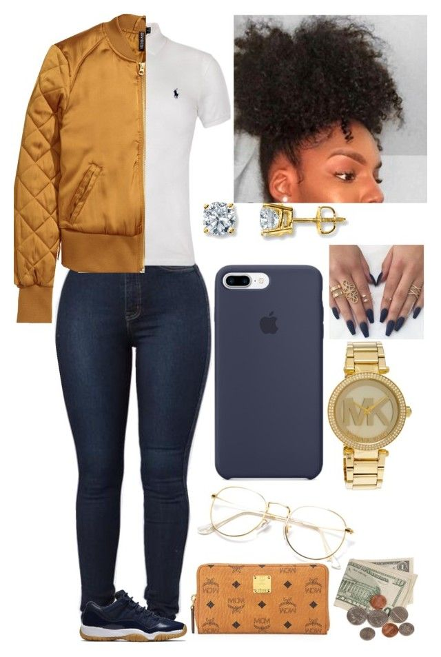 """M Bomber ✨"" by amournyaa ❤ liked on Polyvore featuring Polo Ralph Lauren, NIKE, Michael Kors and MCM"