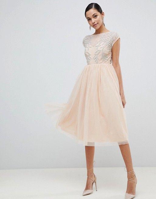 0a4bc68129 DESIGN embellished open back tulle midi dress | Dresses | Asos dress ...