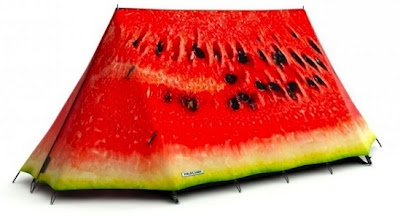 A watermelon tent...my kind of stylish accessory for camping/glamping.