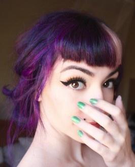 Purple hair + bangs