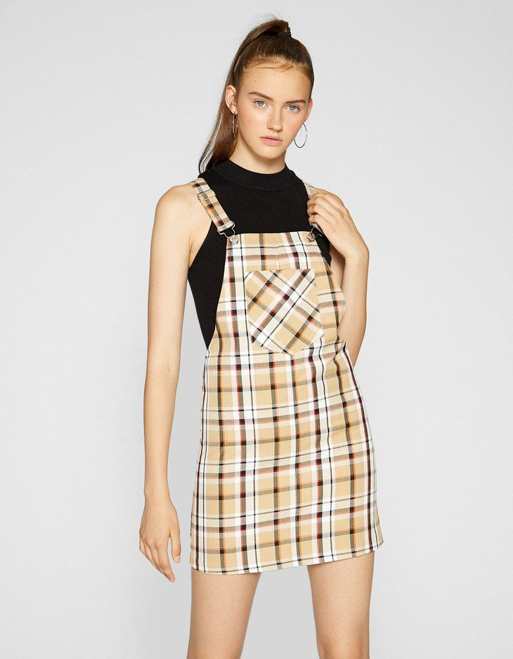 a96c852845e Checked pinafore dress - null | Stradivarius United Kingdom ...