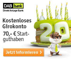 Kostenloses Girokonto bei der DAB bank mit 70€ Startguthaben! Top!