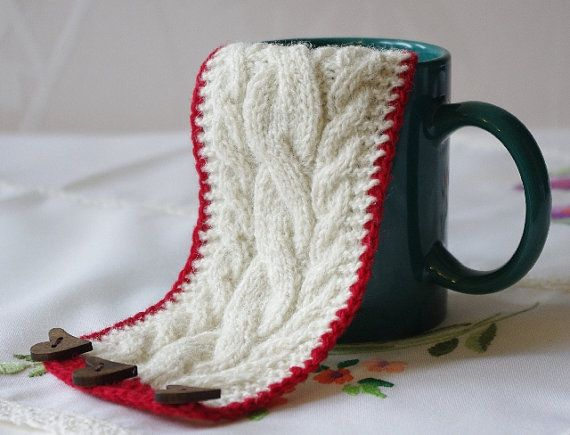 Knitted white coffee cup cozy. Tea Cup cozy. Wool by tertsdesign