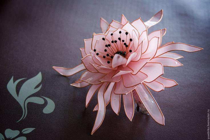 Купить Украшение для волос Заколка цветок Эпифиллум нежно-розовый - бледно-розовый, нежно-розовый